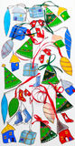 Set of stained glass handmade Christmas decor Royalty Free Stock Image