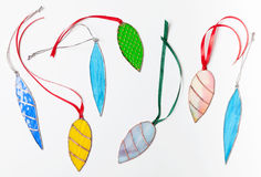 Set of stained glass handmade Christmas decor items Stock Image