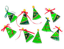 Set of stained glass handmade Christmas trees Royalty Free Stock Image