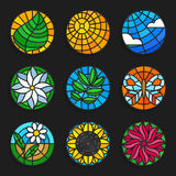 Set of stained glass summer icons - Stock vector illustration. Stock Photography