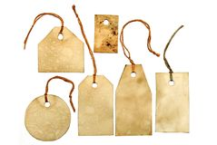 Set of stained tags with strings Royalty Free Stock Images