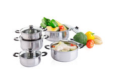 Set of stainless pots with lids Royalty Free Stock Images