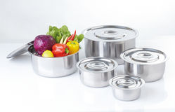 Set of stainless pots Royalty Free Stock Images