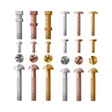Set of stainless steel bolts, copper and bronze. Stock Image