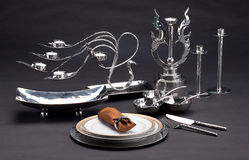 Set of stainless steel tableware Stock Photography