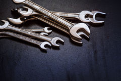 Set of the stainless steel wrench Royalty Free Stock Images