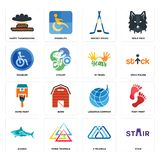 Set of stair, 3 triangle, sharks, logistics company, home paint, 10 years, disabled, hockey sticks, happy thanksgiving icons. Set Of 16 simple editable icons Royalty Free Stock Image