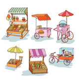Set of stall shop and cart, vector illustration Royalty Free Stock Images