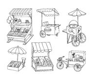 Set of stall shop and cart, vector illustration Royalty Free Stock Photography