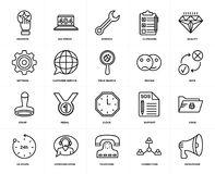 Set of  Stamp, Megaphone, Connection, Communication, Virus, Clock, Settings, Favorite, Customer service, Review, Quality icons. Set Of 20 icons such as Megaphone Royalty Free Stock Photography