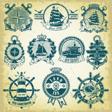 Set of stamp with a nautical theme Stock Photography