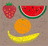 Set of stamped fruits Royalty Free Stock Photography