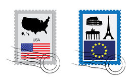Set of stamps Stock Images