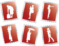 Set stamps - 20. People. Set of 6 vector postage stamps for web Royalty Free Stock Photos