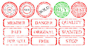 Set of stamps. Set of grunge stamps on a white background stock illustration