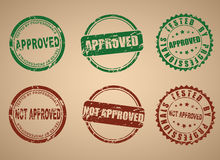 Set of stamps for approved not approved Royalty Free Stock Photography