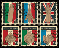 Set of stamps with architectural landmarks Stock Photography