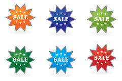 Set of stamps bearing the inscription sale Stock Image