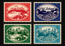 Set of stamps with the car and motorbike Royalty Free Stock Photography