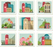 Set of Stamps With Cities. Nset of stamps with the image of buildings and cities in retro style Stock Images