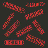 Set of stamps declined, vector illustration. Royalty Free Stock Images
