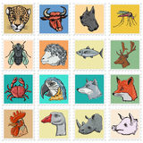 Set of  stamps with different animals Royalty Free Stock Images