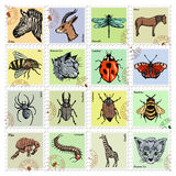 Set of  stamps with different animals Royalty Free Stock Photography