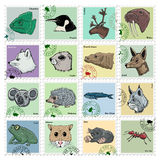 Set of  stamps with different animals Stock Photo
