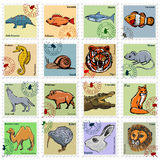 Set of  stamps with different animals. Animal stamps with wolf, lion, tiger and other animals Royalty Free Stock Photo