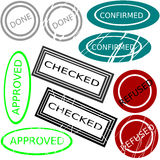 Set of stamps. Five kinds of stamps and their used variation royalty free illustration