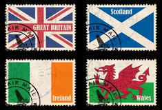 Set of stamps with flags from the British Isles. (Great Britain, Ireland, Scotland, Wales stock illustration
