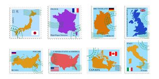 Set of stamps of G8 countries Stock Photography