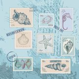 Set of stamps with line drawing shells. Hand drawn vector illustration Royalty Free Stock Image