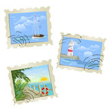 Set stamps, marine themed Royalty Free Stock Photo