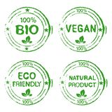 Set for Stamps Natural Products. Set of stamps for bio, eco friendly, vegan or natural products - vector illustration vector illustration