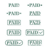 A set of stamps is paid, vector illustration. Set of rectangular stamps paid, vector illustration Stock Image