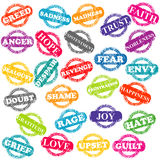 Set of stamps with positive and negative emotions Royalty Free Stock Photo