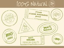 Set of stamps print in retro style for farm food shops. Set of rubber stamps print in retro style with letterings for farm food shops. Eco and bio concept Royalty Free Illustration