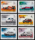Set of stamps printed in Hungary shows cars Stock Images