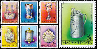 Set of stamps printed in Hungary shows Jewish treasures Stock Images