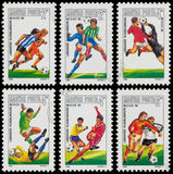 Set of stamps printed in Hungary shows the World Cup Football Ch Stock Images