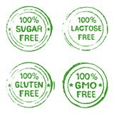 Set of Stamps for Natural Products. Set of stamps for products without sugar, gluten, GMO lactose - vector illustration vector illustration