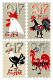 Set of  stamps Roosters 2017. Hand drawn Roosters 2017. Set of  themed stamps. New Year on the Chinese calendar. Speckled doodle cocks Stock Image