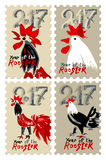 Set of  stamps Roosters 2017. Hand drawn Roosters 2017. Set of  themed stamps. New Year on the Chinese calendar. Speckled doodle cocks Royalty Free Stock Photos