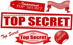 Set of stamps. Rubber stamps with text top secret inside,  illustration Royalty Free Stock Photos