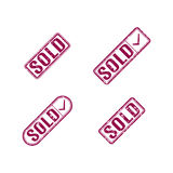 A set of stamps sold, vector illustration. Stock Image