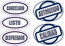 Set of stamps in Spanish Royalty Free Stock Images