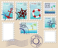 Set of stamps on theme of the sea. Set of stamps on the theme of the sea Royalty Free Stock Images