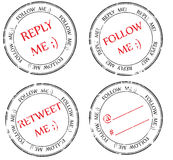 Set of stamps to Twitter: follow, reply, retweet Royalty Free Stock Image