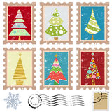 Set of stamps with tree design Royalty Free Stock Image